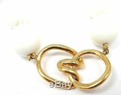 Rare! Tiffany & Co. 18k Yellow Gold 12.5mm Dolomite White Bead Necklace 19.5