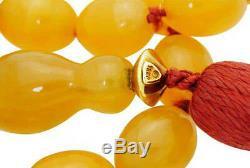 Rare Tiffany & Co 18k Yellow Gold Orange Agate Beaded Tassel Necklace #02