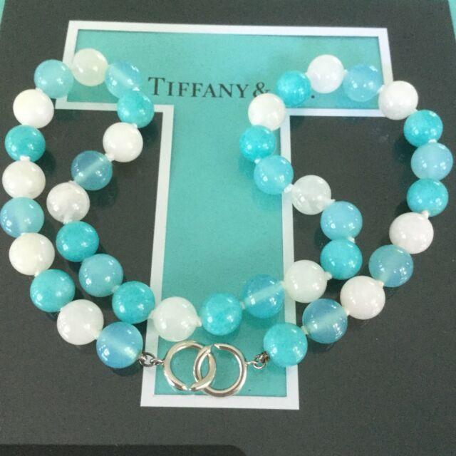 Rare Tiffany & Co. Gemstone Amazonite Moonstone Blue Agate Bead Necklace Silver