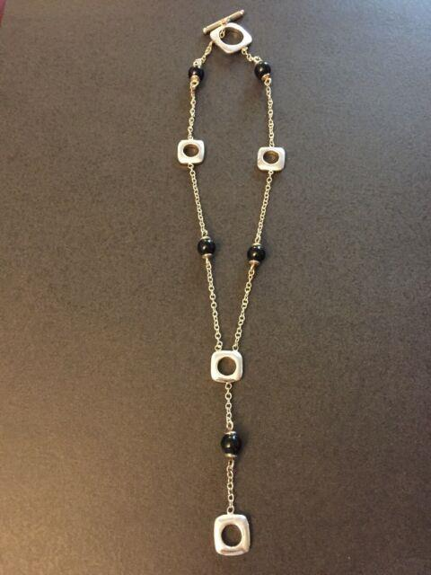 Rare Tiffany & Co. Onyx Bead Sterling Silver Necklace