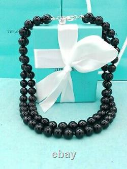 Rare Tiffany & Co Silver Onyx Gemstone Ball Bead Necklace Double Strand 17