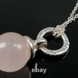 Rare Tiffany Co. Vintage Rose Quartz Pink Stone Ball Silver Necklace Sv92 6-422