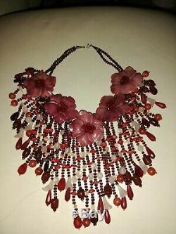 Rare Unique Marvelous Genuine Jade Garnet Carnelian Coral 925 Silver Necklace