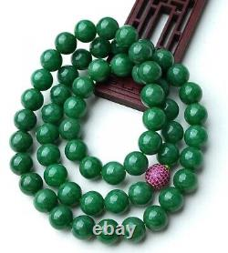 Rare UntreatedGrade AEmerald Sun Green Jadeite Jade Beads Necklace