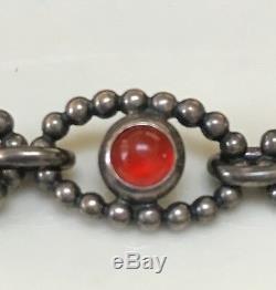 Rare VHTF Pandora Silver Carnelian Cabochon Bracelet