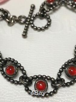 Rare VHTF Pandora Silver Carnelian Cabochon Bracelet & Triplet Stone Spacer Bead