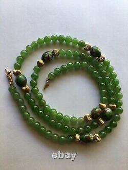 Rare Vintage 14K Gold With Green 6MM Jade Bead Ball Necklace Transparent Natural