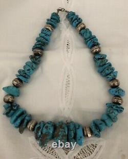 Rare Vintage Arizona Castle Dome Turquoise Stones & Silver Bead Necklace 22 L
