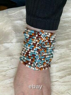 Rare Vintage Beaded Bracelet Turquoise, Coral, and other stones beads