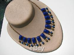 Rare Vintage Egyptian Pharaoh High Relief Glass Stones Faux Lapis Beads Necklace