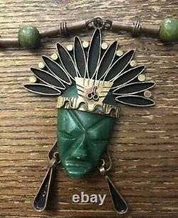 Rare Vintage Mexican Brass Carved Green Stone Figural Face Indian Bead Necklace
