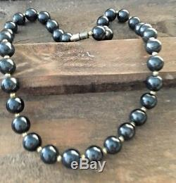 Rare Vintage Natural Black Hematite Round Beads Gemstone Women's Necklace