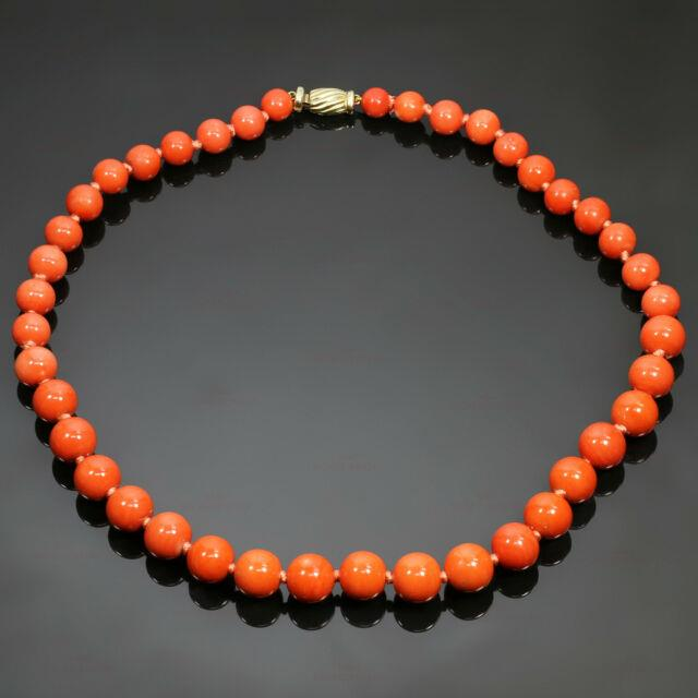 Rare Vintage Red Coral Diamond Yellow Gold Clasp Beads Necklace