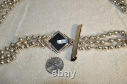 Rare Vintage Three Strand Sterling Silver Bead and Onyx Belt Signed NR
