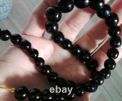 Rare Vtg Precious Marbleized Black Coral Bead Choker Handcrafted Antipatharian