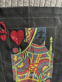 Rare collectors vtg Moschino popart dress skirt, black queen of heart, sequin 8/42
