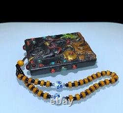 Rare meteorite mosaic gem Dzi Bead Amulet PendantZhong Kui