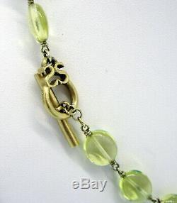 SLANE & SLANE Rare 18k Yellow Gold Citrine Bead Toggle Clasp 30.1 Gram Necklace