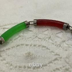 STERLING SILVER Chinese Link Bracelet Jade Amethyst Carnelian MOP Onyx Etc Rare