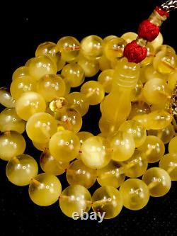 SUPER RARE Material Natural STONE Baltic Amber Prayer Beads 78B/50gr