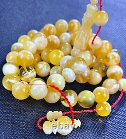 SUPER RARE Natural STONE Baltic Amber Prayer Beads Mesbah 72gr