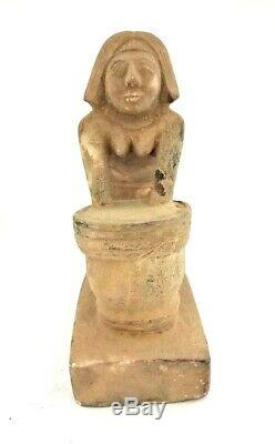 Shabti Woman Sculpture Egyptian Antiques Bead Mummy Rare Figurine Late Period