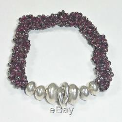 Silpada Garnet Sterling Silver Cluster Stretch Bracelet B0930.925 Red RARE