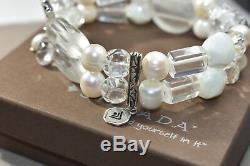 Silpada RARE Crystal Quartz White Pearl Bracelet 925 Sterling Silver Stone Bead