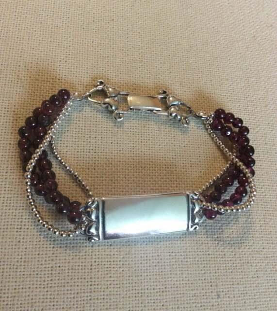 Silpada Rare Garnet Id Bracelet Sterling Silver Beads Heart Safety Clasp B0675