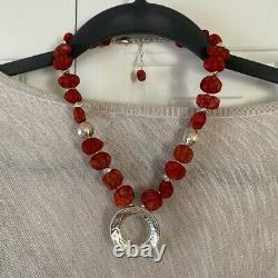 Silpada Red Sponge Coral Hammered Sterling Silver Bead Necklace N1370 Rare HTF