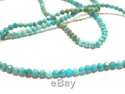 Sleeping Beauty Turquoise Necklace strand Rare stacking Beaded Gemstone 16 18k