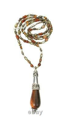 Stephen Dweck Vintage Rare Sterling Silver Beaded Stone & Wood Pendant Necklace
