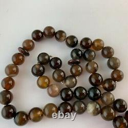 Sterling Silver Stone Prayer Beads Islamic Inscription Signed Rare Chain