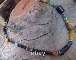 Stone Bead Necklace with Turquoise, Amber and Black coral beads, Natural, Rare
