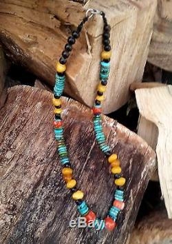 Stone Bead Necklace with Turquoise, Amber and Red coral beads, Natural, Rare
