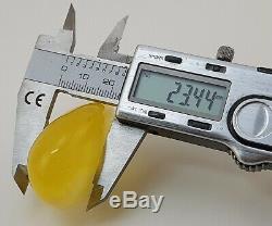 Stone Pendant Amber Natural Baltic Transparent White 25,9g Egg Yolk Rare F-007