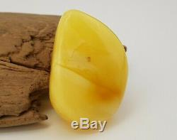 Stone Pendant Natural Amber Baltic 21,1g Rare Sea Vintage Old White 127