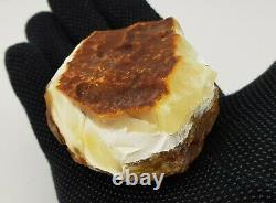 Stone Raw Amber Natural Baltic Bead 156,1g White Vintage Rare Old Sea R-501