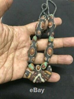 Stunning Rare Charm Viking Stone Glass Beads Necklace Lovely Century