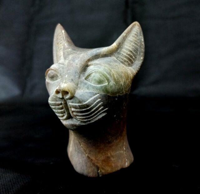 Stunning Stone Bastet Sculpture Very Rare Egyptian Antiques Bast Bead Statue Bc