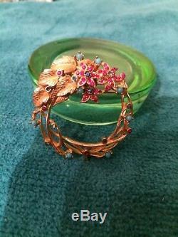 Stunning VTG CINER Brooch Pin Estate Rare Sapphire/ruby color STONES AQUA BEAD