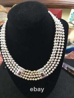 Stunning-rare David Yurman Necklace With 18kt/925 Beads & Rubellite Stones