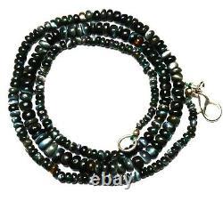 Super Rare Gem Alexandrite Chrysoberyl 3-5MM Smooth Rondelle Beads Necklace 19