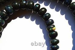 Super Rare Gem Natural Black Australian Matrix Opal Big Rondelle Bead Necklace