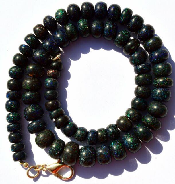 Super Rare Gem Natural Black Australian Matrix Opal Big Rondelle Beads Necklace