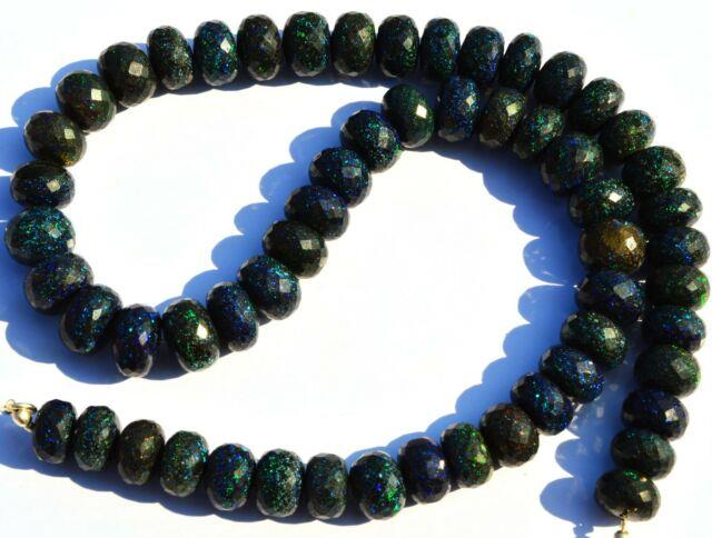 Super Rare Gem Natural Black Australian Matrix Opal Rondelle Bead Necklacegemedh