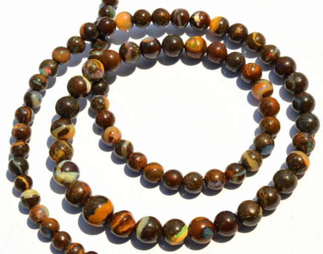 Super Rare Natural Gem Boulder Australian Opal 4-7mm Round Beads Necklace 19