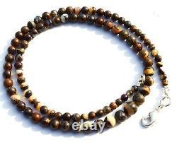 Super Rare Natural Gem Boulder Australian Opal 4 to 7MM Round Beads Necklace 17