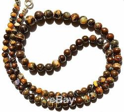 Super Rare Natural Gem Boulder Australian Opal 4 to 7MM Round Beads Necklace 18
