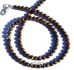 Super Rare Natural Gem Boulder Australian Opal 5MM Round Beads Necklace 16.5